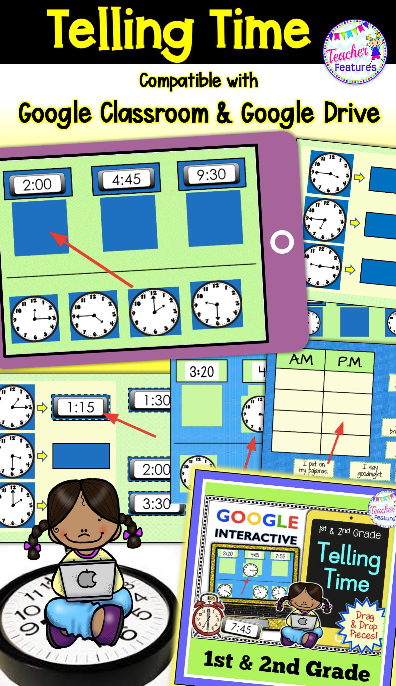 Classroom Math Telling Time Paperless Activities