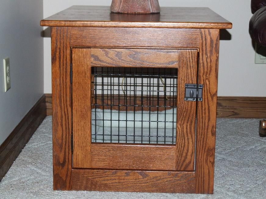 Amish Mission Front Entry Wood/Wire Dog Crate End Table