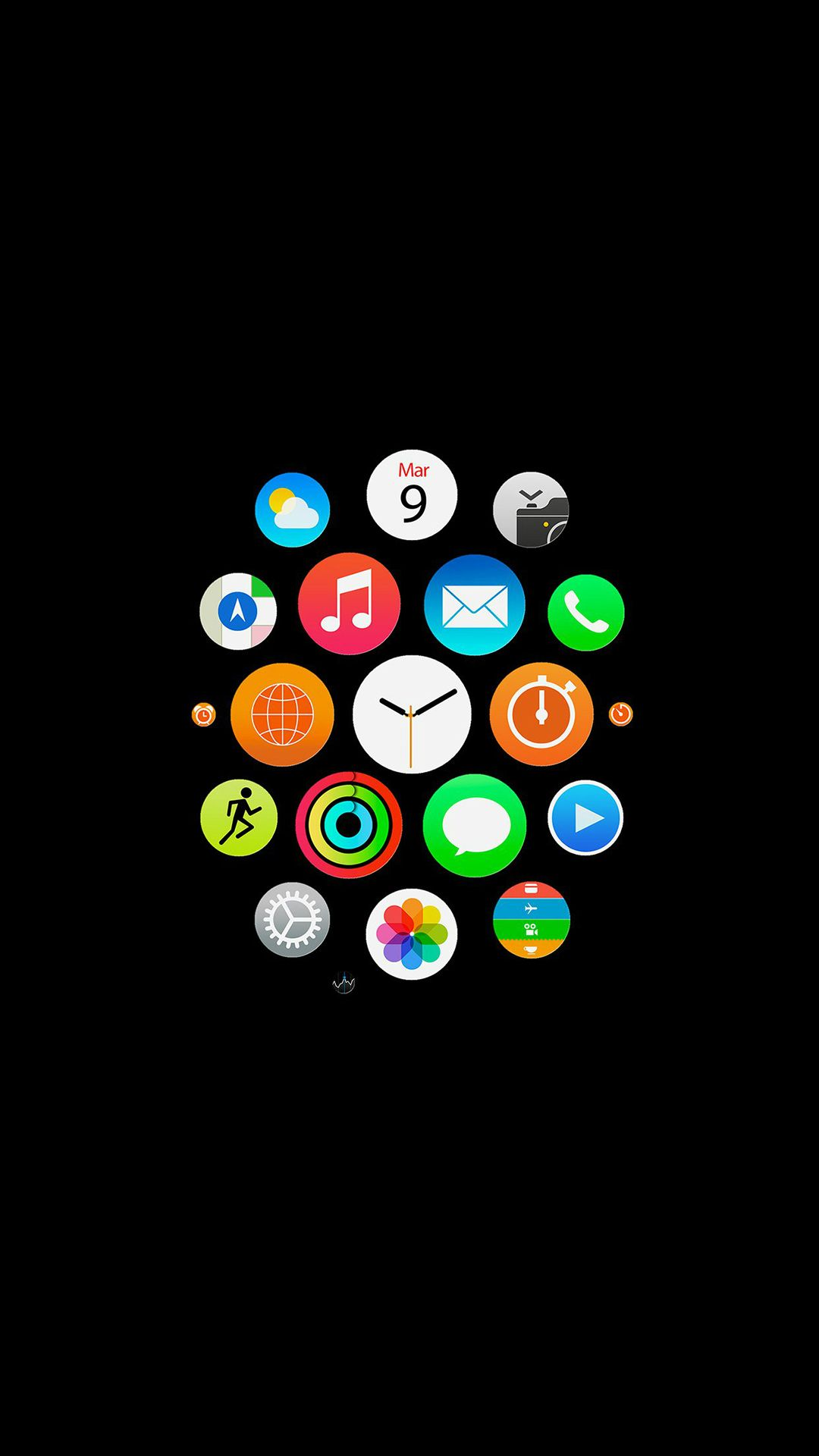 Apple Watch Icons Art Illust Dark iPhone 8 Wallpapers