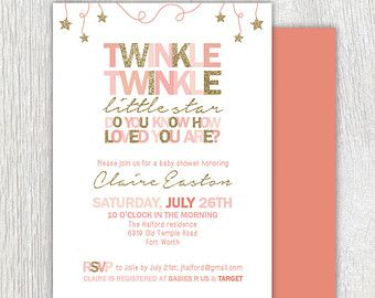 Printable gold glitter invitation Pink and by PrettiestPrintShop