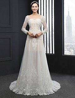 Column Tulle Wedding Dress