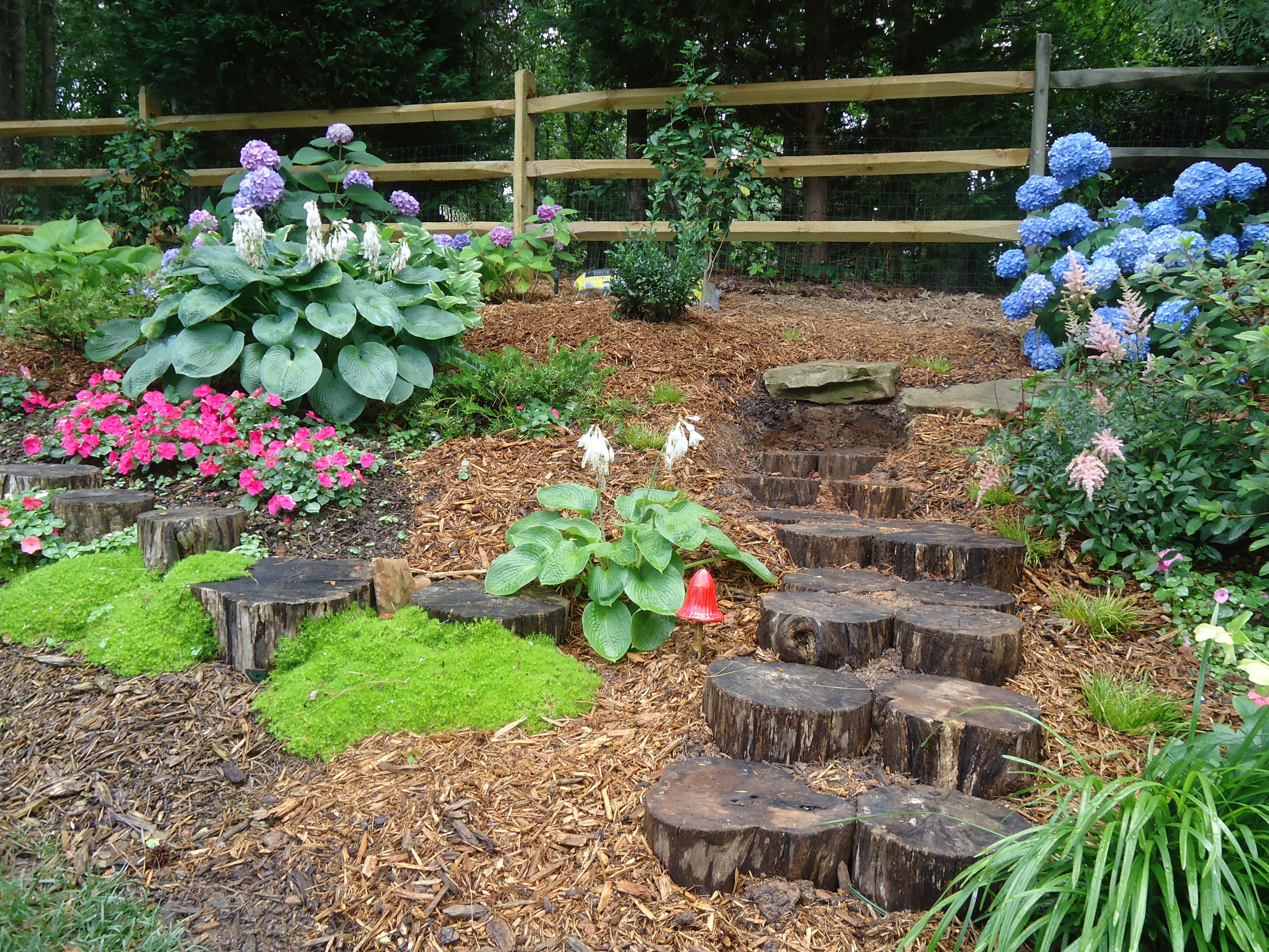 Locust log steps and wall...used the leftovers from the Irish garden ...