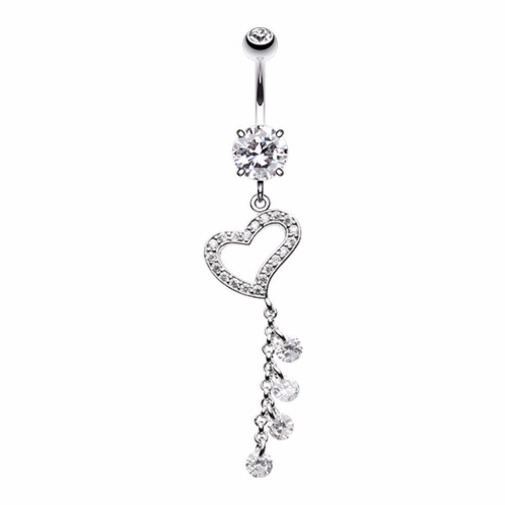 Belly button piercing scar  Dazzling Heart Crystalline Belly Button Ring  Belly button and Products