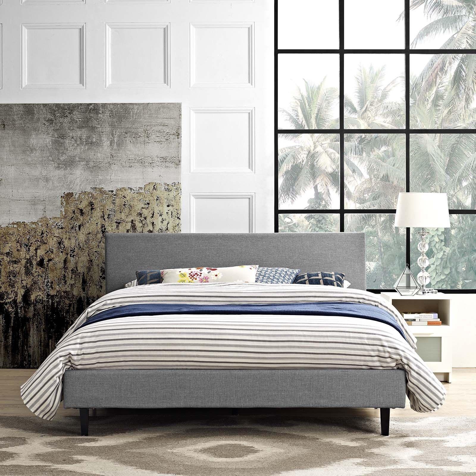 Anya Fabric Full-Size Platform Bed by Modway | Plattform und Betten