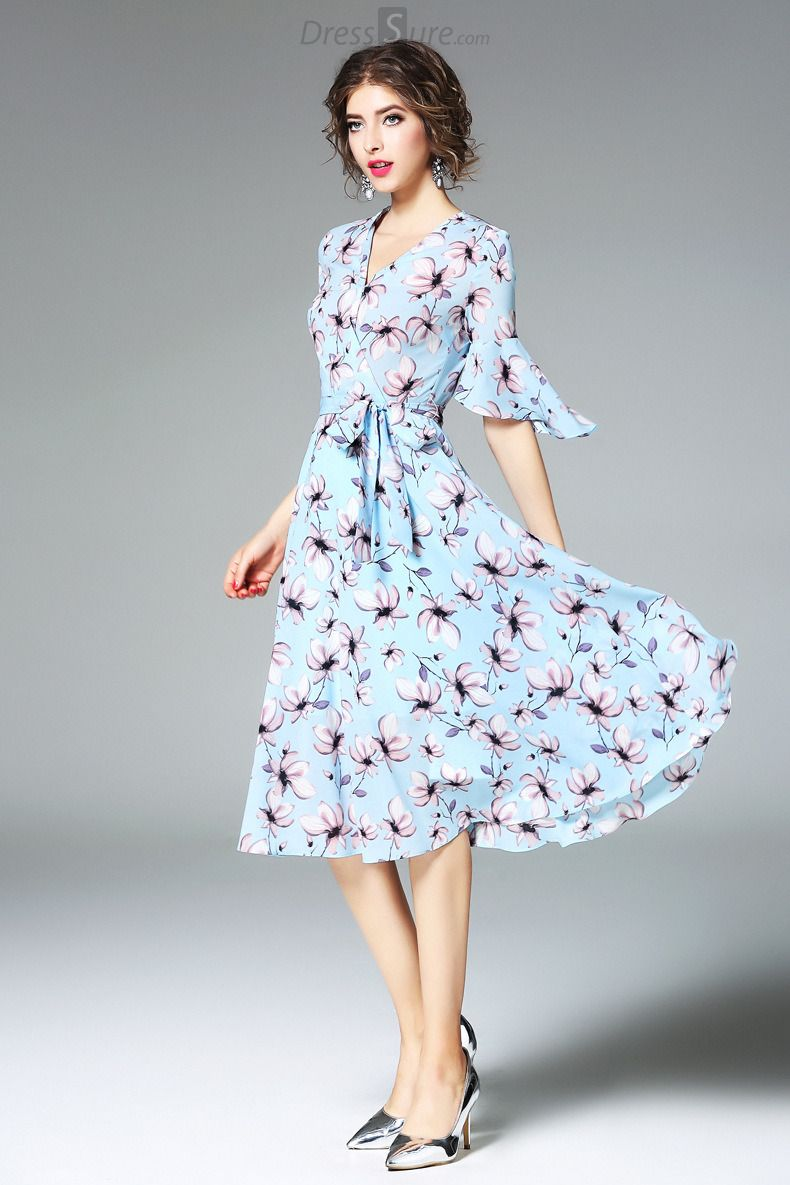 1e1cd0177b Buy Elegant V-Neck Flare Sleeve Floral Print Skater Dress at DressSure.com  Color Blue  Size S