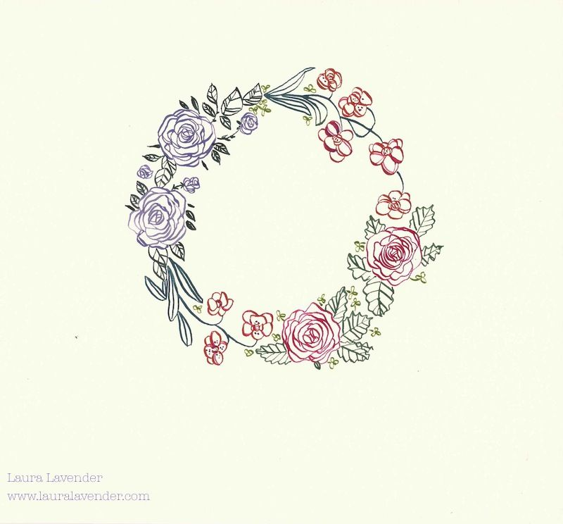 Laura lavender calligraphy illustration flower wreath