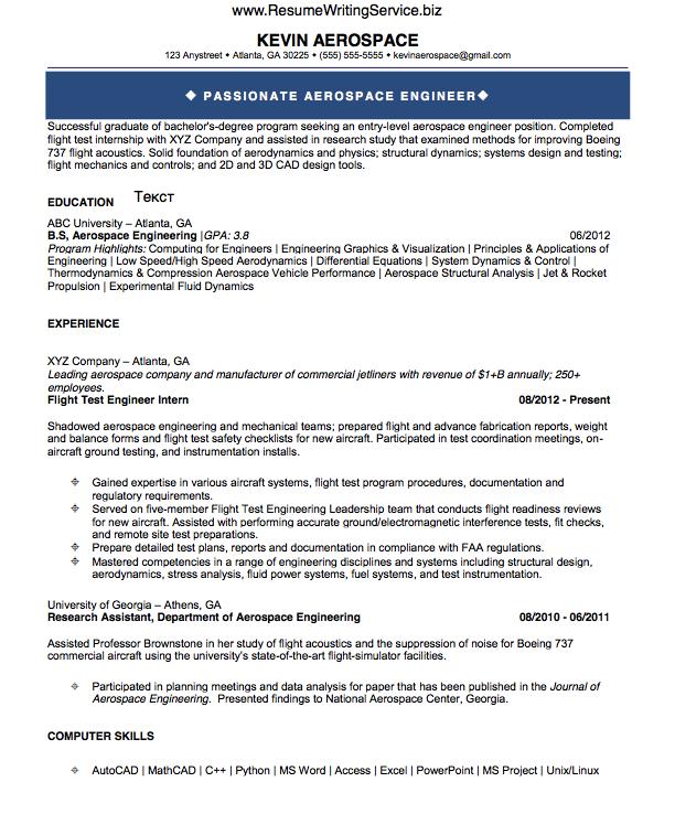 Aerospace Engineer Resume Sample Aerospace Engineering Engineering Resume Engineering