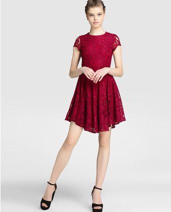 1ea6c86f5510 Vestido de mujer Fórmula Joven de guipur en color rojo | vestidos ...