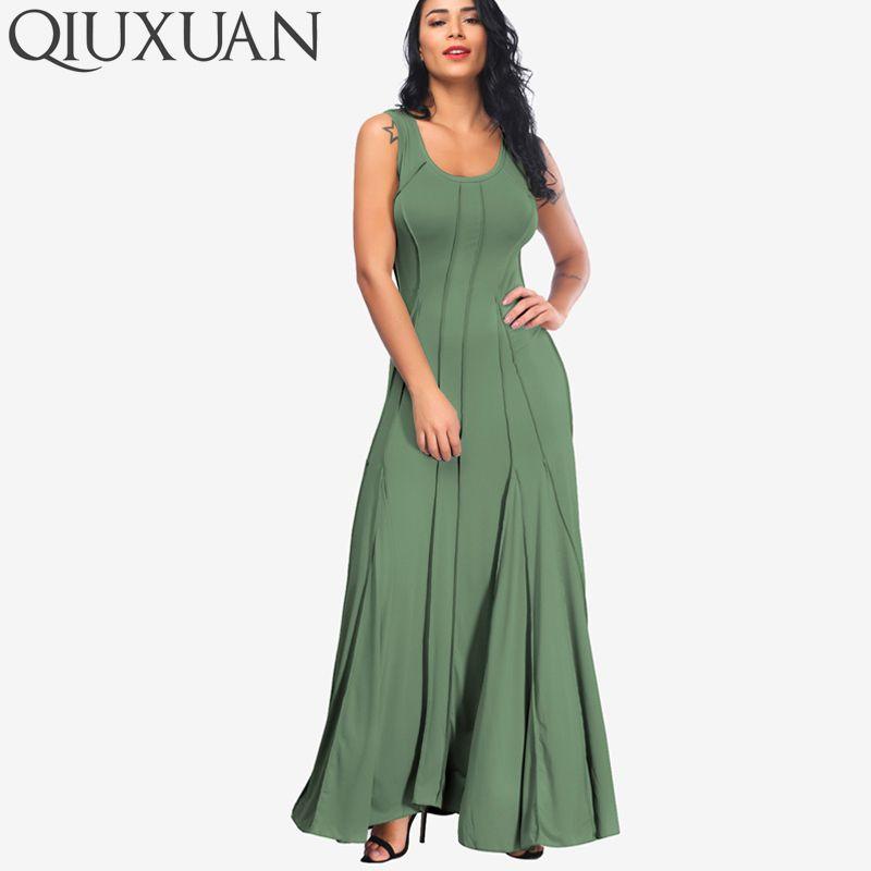QIUXUAN Plus Size Summer Sleeveless Women Tank Dress Fashion Scoop Neck Swing  Dress Fold Pleated Maxi Casual Dress d8fd25a01428