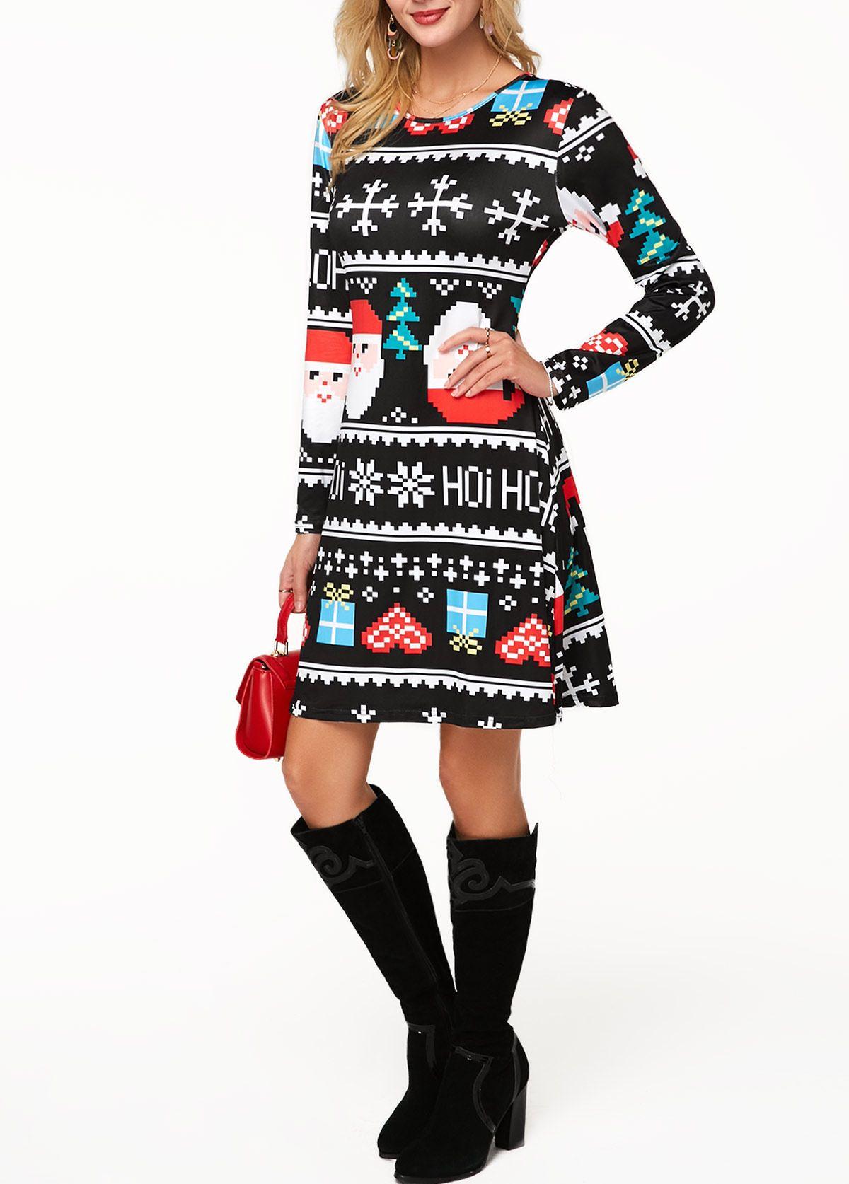 Long Sleeve Christmas Print Round Neck Mini Dress Rotita Com Usd 24 10 Printed Mini Dress Fashion Dresses [ 1674 x 1200 Pixel ]