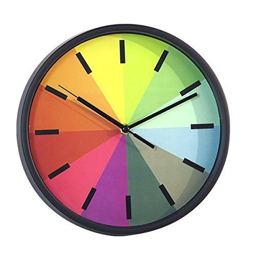 Foxtop Modern Creative Round 10 Inch Non Ticking Silent Wall Clock Kids Rainbow Color Clock Black Kids Wall Clock Clock Wall Decor Wall Clock Modern
