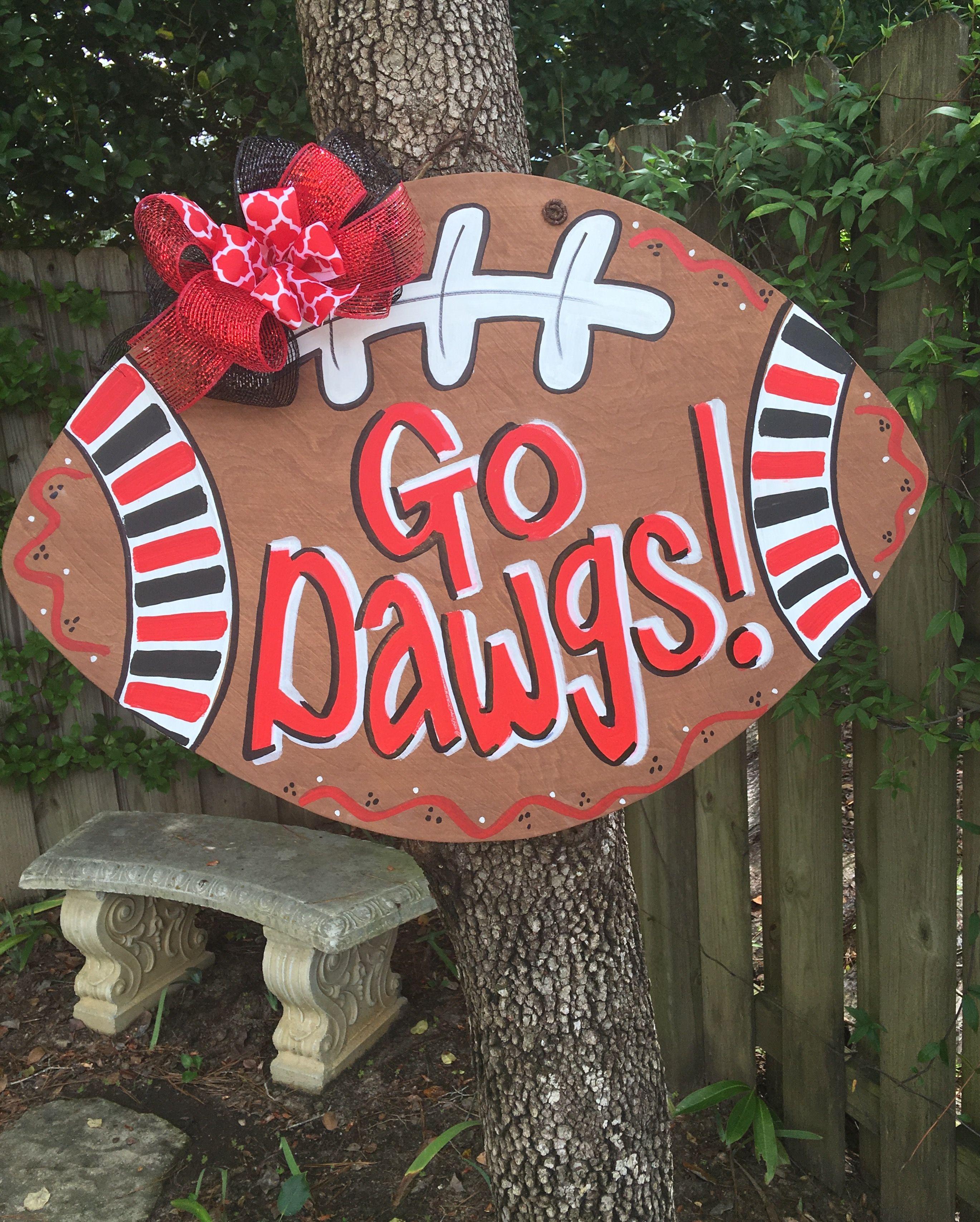 Go Dawgs University Of Georgia Bulldogs Football Door Hanger By Bless Your Heart Art ️