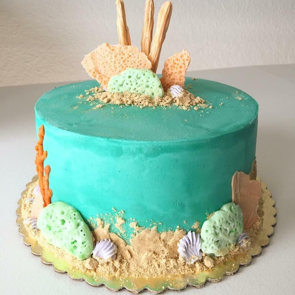Ocean Themed Birthday Cake No Fondant Fondanthate Ocean