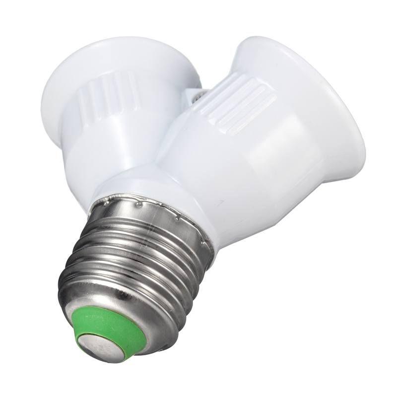1a E27 To E27 Lamp Base Double Socket Lamp Base Holder Converter Splitter Adapter For Led Light Lamp Bulb 220v Led Light Lamp Lamp Bases Lamp Light