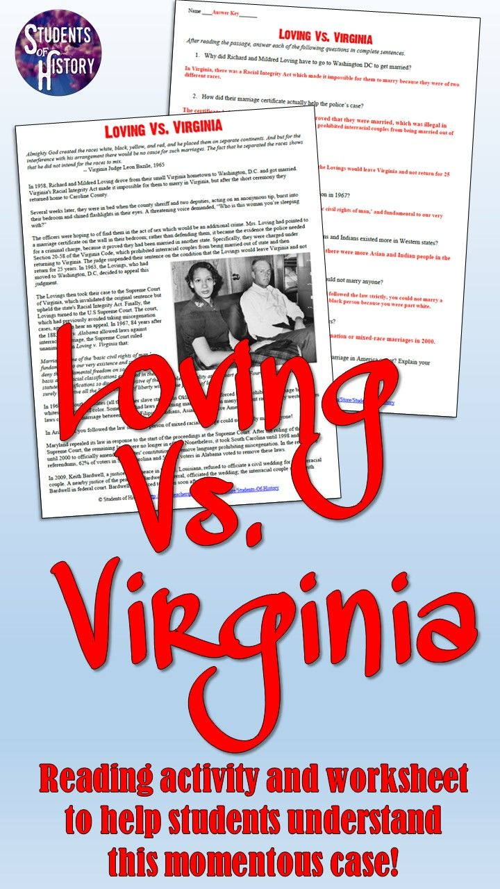 loving v virginia civil rights supreme court case reading this worksheet will help your students understand the loving v virginia case regarding interracial marriage in the us students will be amazed that both