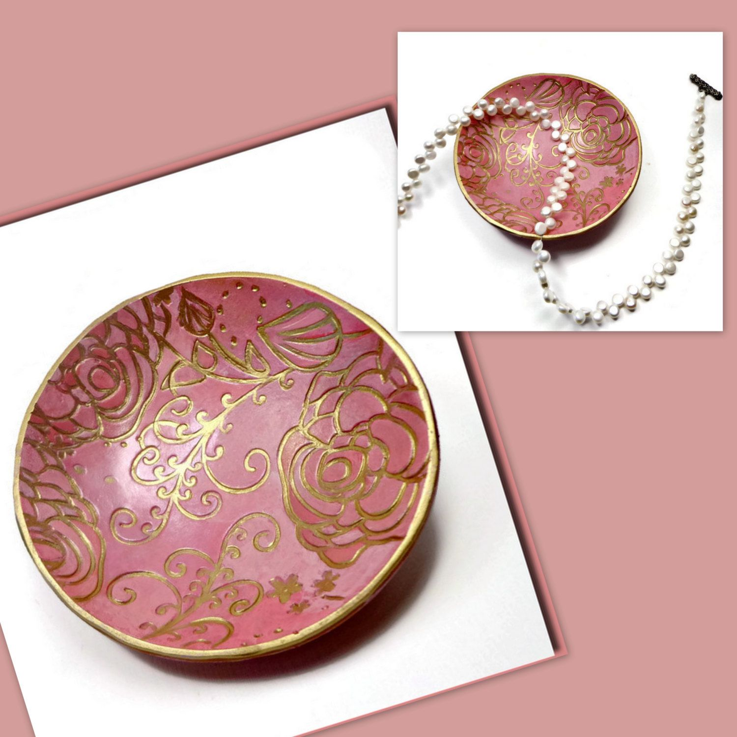 Coral Pink Wedding Ring Holder- polymer clay Bowl- Jewelry Holder ...