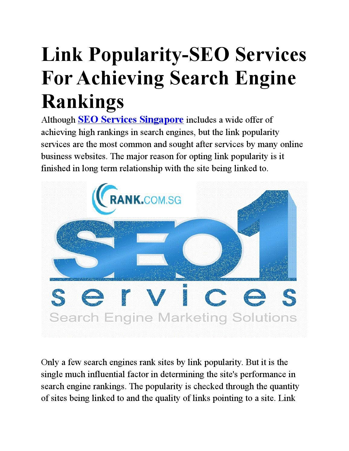 Link Popularity Seo Services For Achieving Search Engine Rankings