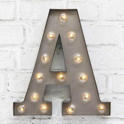 NEW Retro Rusted Metal Letter A Vintage Lights LED Bulbs Night Light Decor