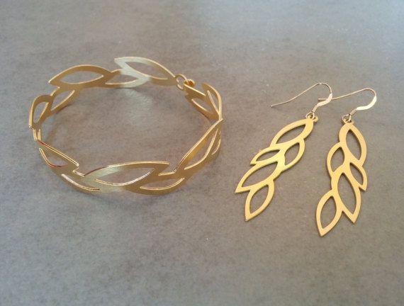 Gold Jewelry Set Bridal Jewelry Set Gold Bracelet Gold Earrings