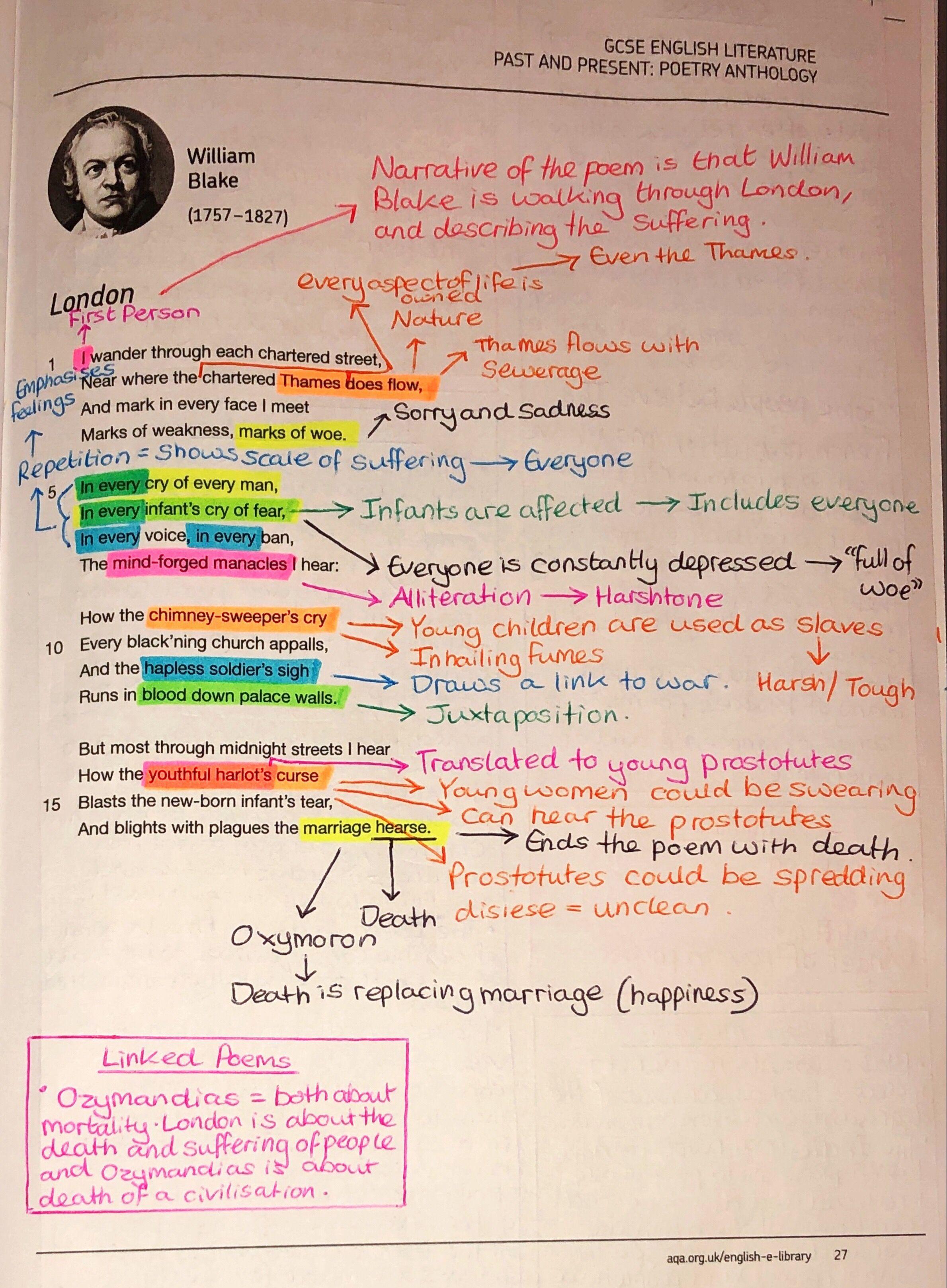 London Annotation Gcse English Literature Poem Revision Theme Of The Ozymandia By Pb Shelley