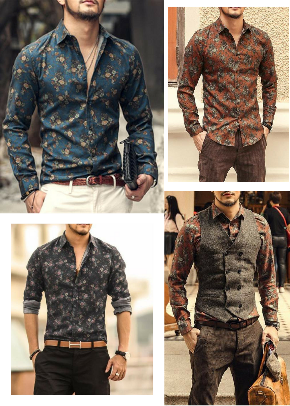 6aa9db7d1cc3 HIT! Mens shirts floral printed English style in 2019