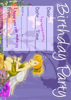 Best Gift Ideas Blog Tinkerbell Birthday Party Invitation Printable