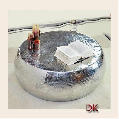 couchtisch aluminium hammerschlag tisch rund modern design silber, Wohnzimmer dekoo