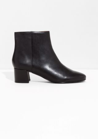 b5b90e815f3   Other Stories image 1 of Leather Ankle Boots in Black