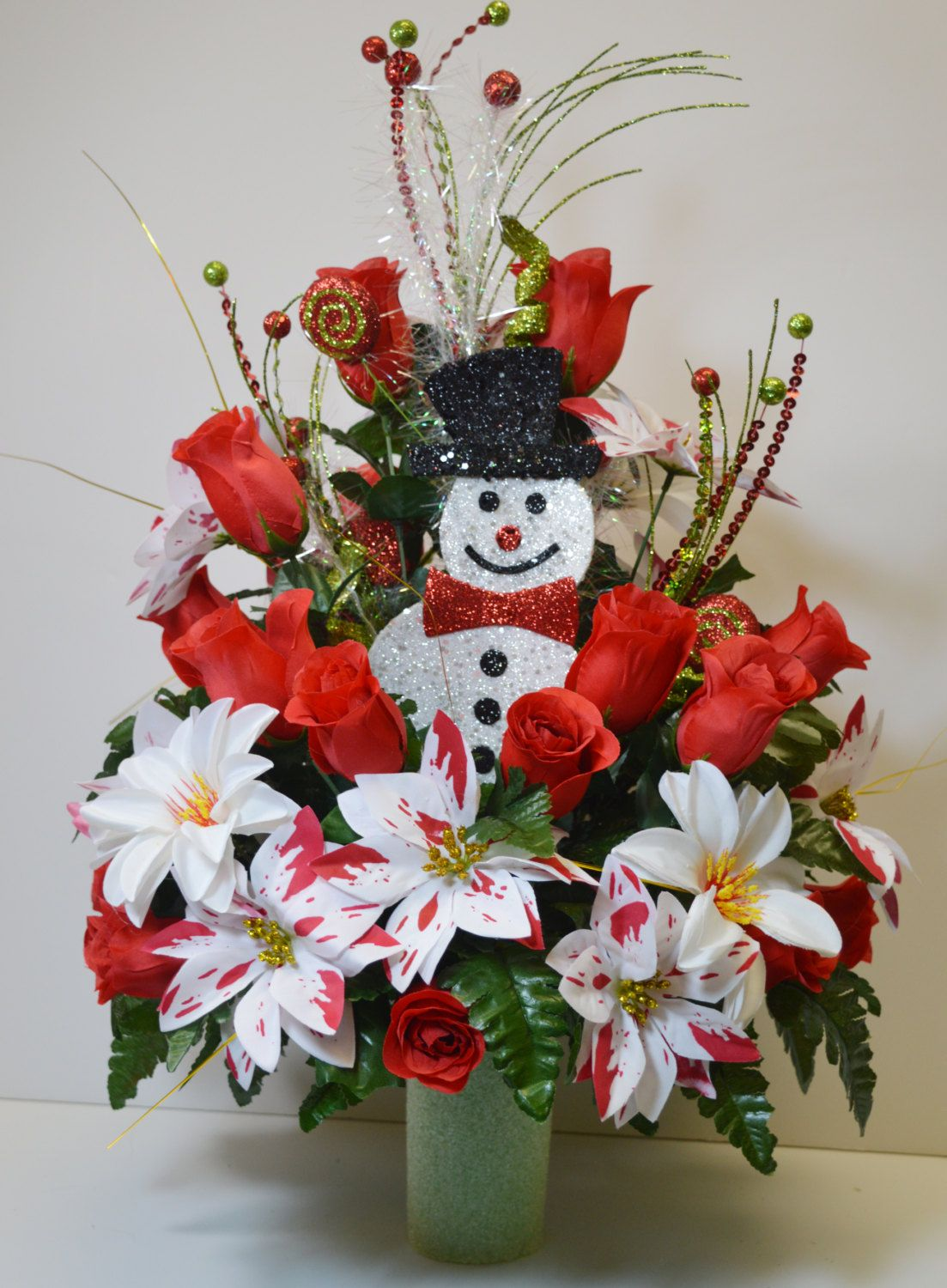 Fibre optic christmas flowers and xmas flowers - Cc022 Holiday Christmas Silk Flower Cemetery Cone Vase Arrangement Tombstone Saddle