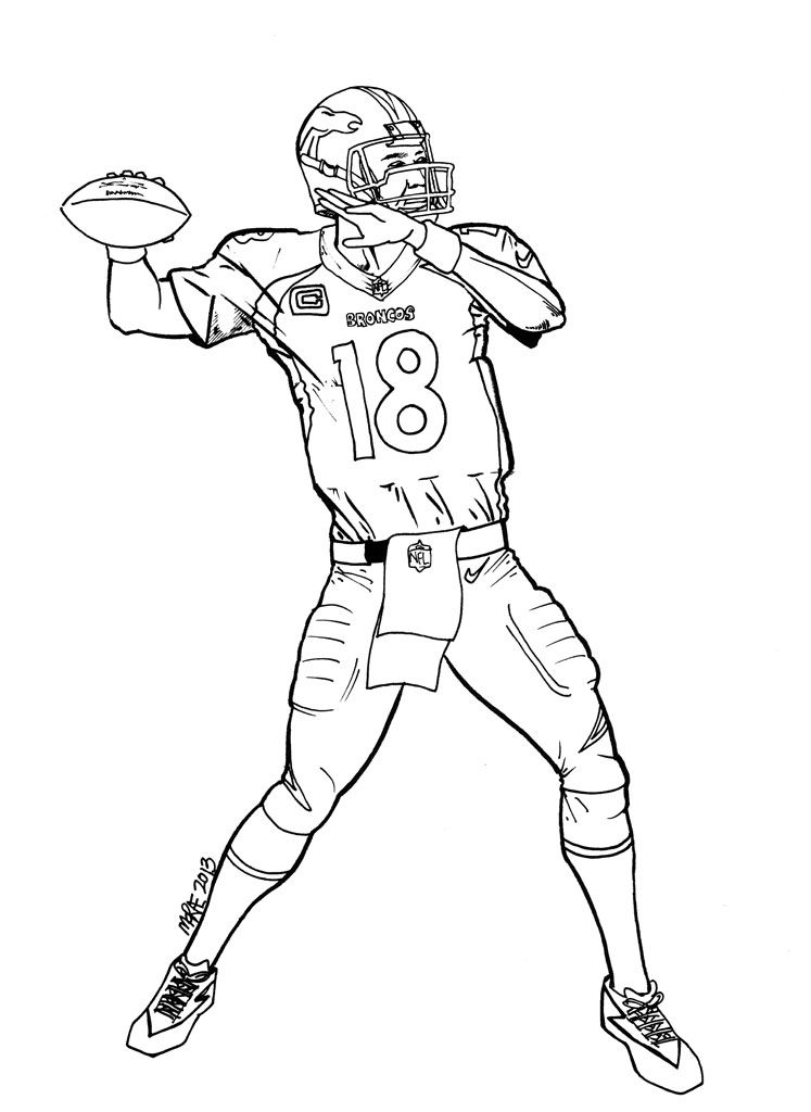 Image For Peyton Manning Coloring Pages Football Coloring Pages