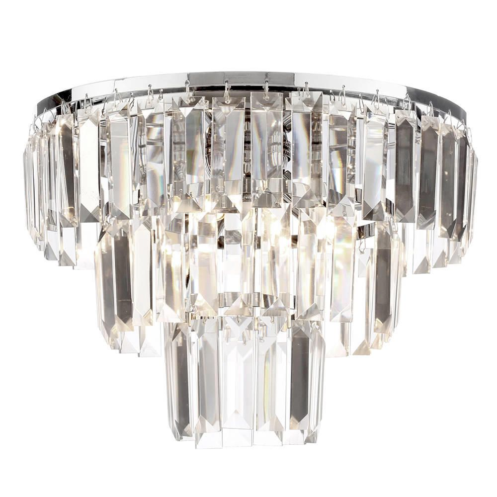 The Prism 3 Tier Light Crystal Flush Ceiling Chrome Glass From