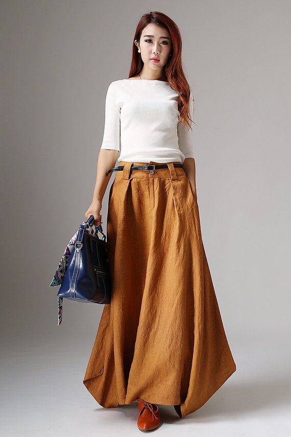 cozy fresh lace up in new arrivals Linen skirt, long maxi skirt, yellow skirt, hippie skirt, pocket ...