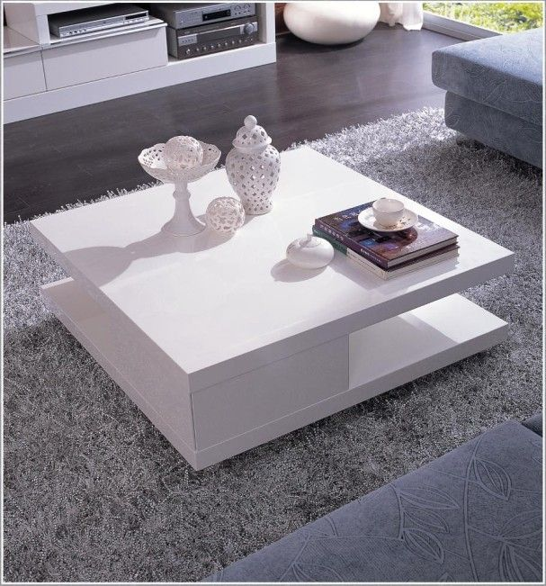 Modern Living Room Tables 5114c - modern white lacquer coffee table - la furniture | living