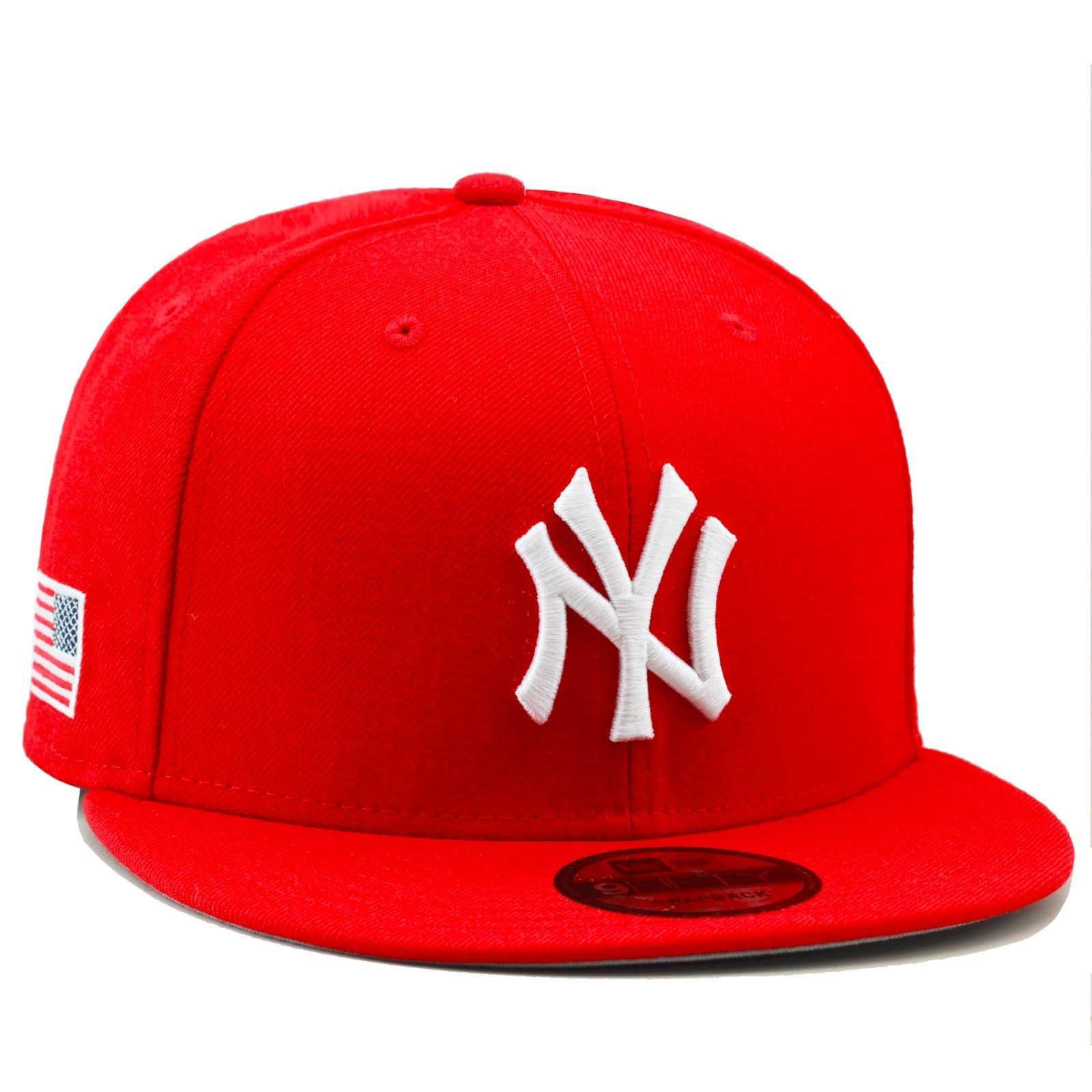 New Era New York Yankees Snapback Hat All RED White USA US American ... 7b8bfe53378