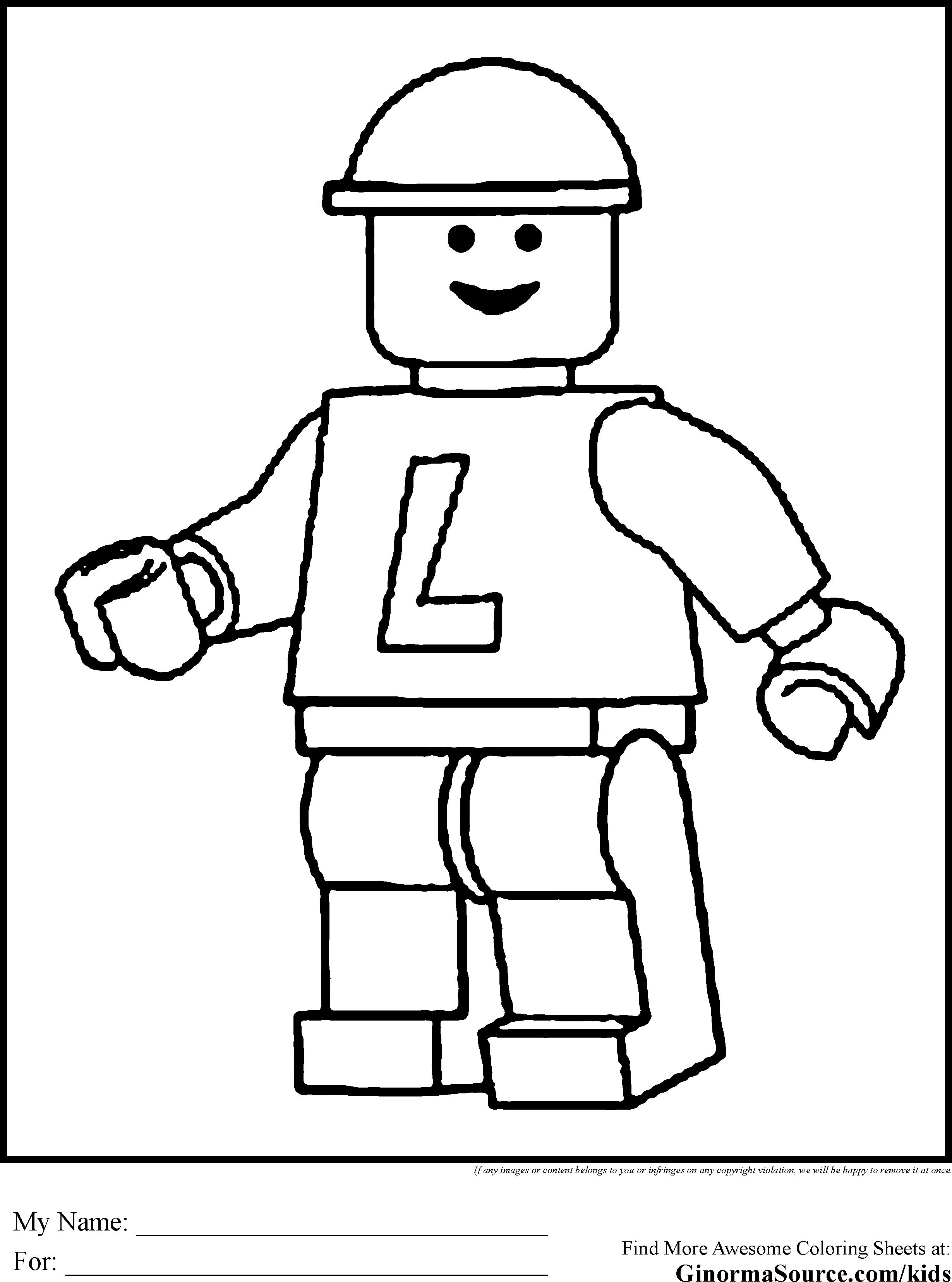 Lego Coloring Pages Legoman Pixels