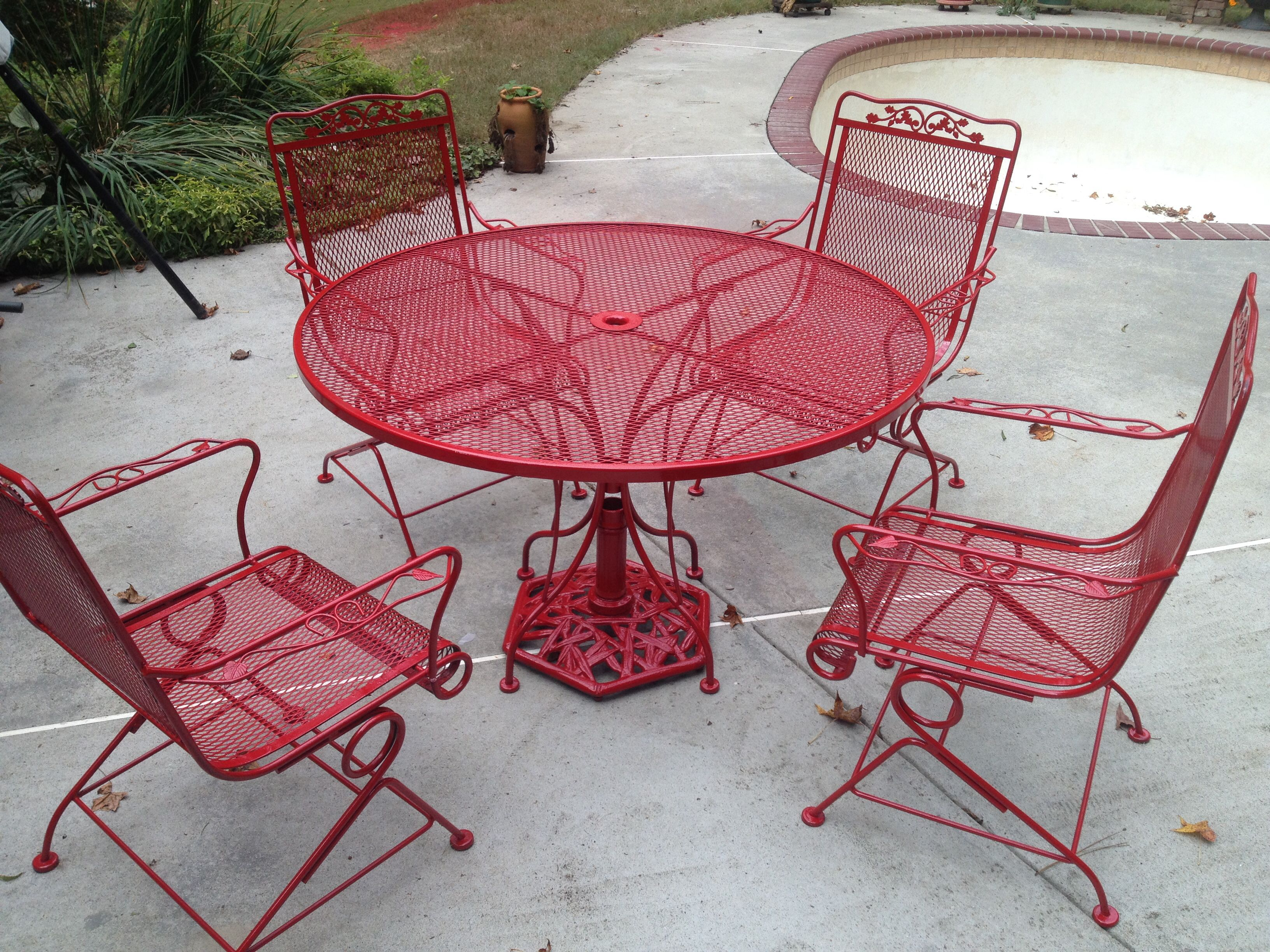 Painted iron patio furniture - Painted Patio Furniture Kensie Suggested Red And This Is How It Would Look