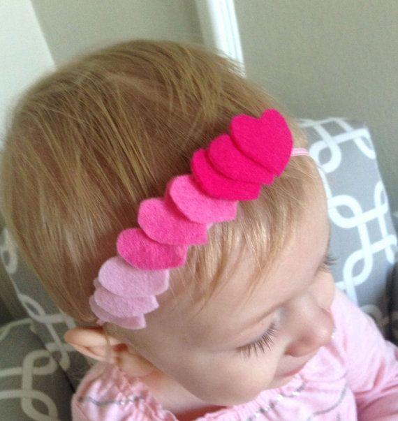 Pink Ombre Hearts Headband   Valentine Headband   Heart Headband