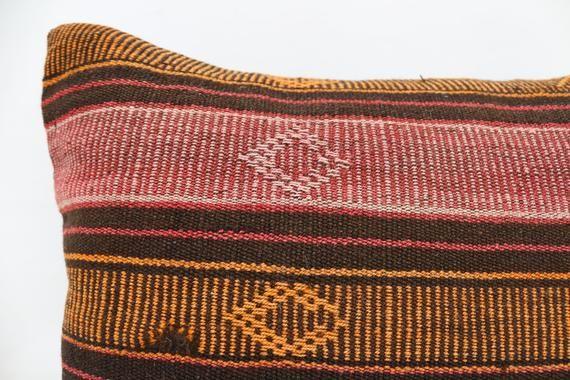 20x20 Turkish Kilim Pillow, Antique Pillow, Orange Pillow, Throw Pillow, Patterned Pillow, Indoor Pi