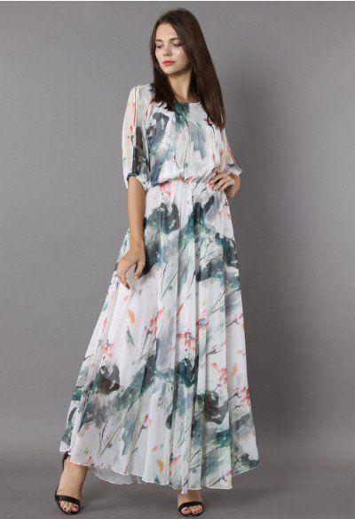 Full Bloom Asymmetric White Floral Printed Maxi Dress - DRESS - Retro a480e2d1e