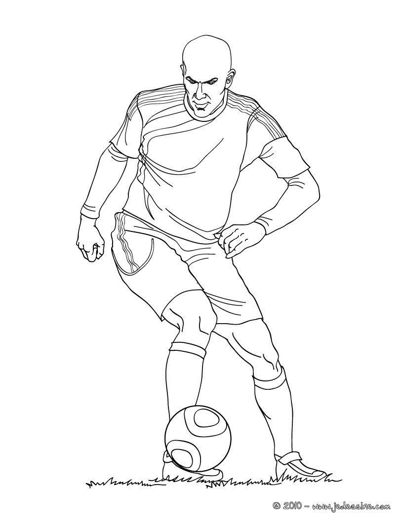 Coloriage du joueur de foot Zinedine Zidane € imprimer gratuitement ou colorier en ligne sur