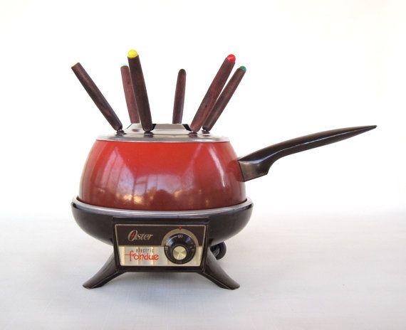 Oster Fondue Pot Set Electric Poppy Red Orange By