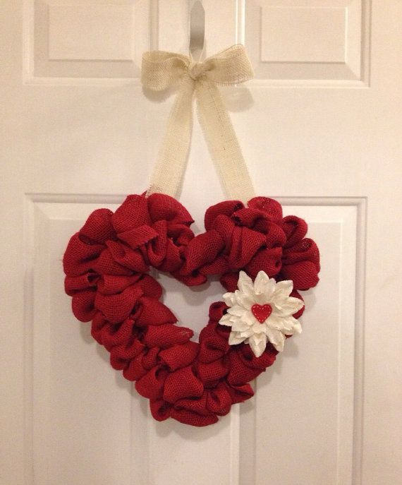 Valentine's day burlap heart wreath with burlap flower on Etsy, $22.00