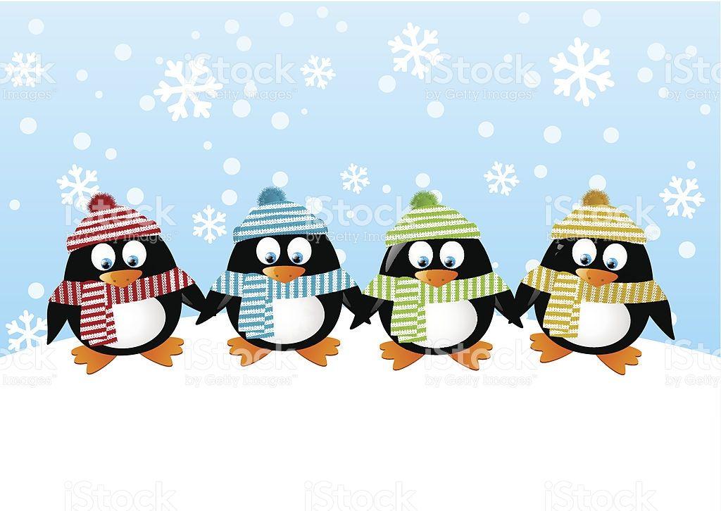 Cute Penguins On Winter Background Cute Disney Wallpaper Penguin Wallpaper Art Wallpaper