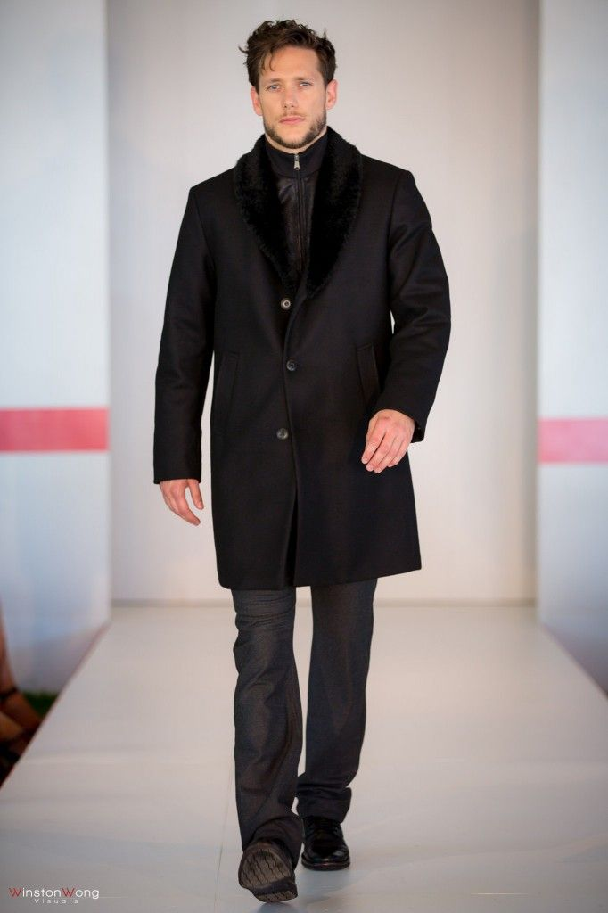 Hugo Boss fur-lined zip-front jacket and Armani overcoat from Harry Rosen, Oakridge Centre Fashion Show at Luxury Supercar Weekend. Photo: Winston Wong http://styledrama.com/2014/09/11/menswear-impresses-luxury-supercar-weekend/