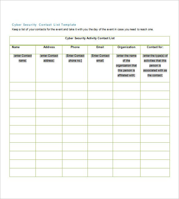 Contacts List Template Alluring Contact List Templates  10 Free Printable Word Excel & Pdf .