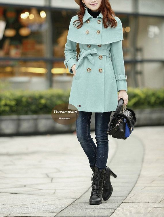 New design Lotus leaf collar mint wool Coatmore by thesimpson, $86.00