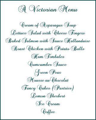 Victorian Dinner Menu Etiquette Summary  VictorianEra