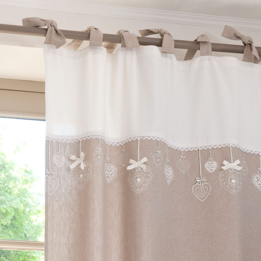 rideau nouettes en coton beige l 39 unit 105x250. Black Bedroom Furniture Sets. Home Design Ideas