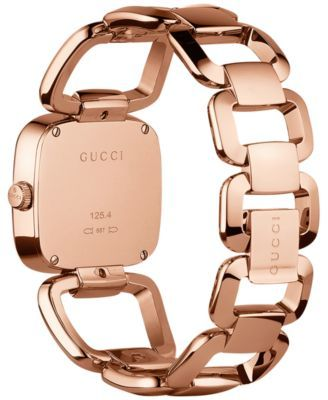 ae15b437cd2 Gucci Women s Swiss G-Gucci Diamond Accent Pink Gold-Tone Pvd Stainless  Steel Bracelet Watch 32x30mm YA125409 - Pink