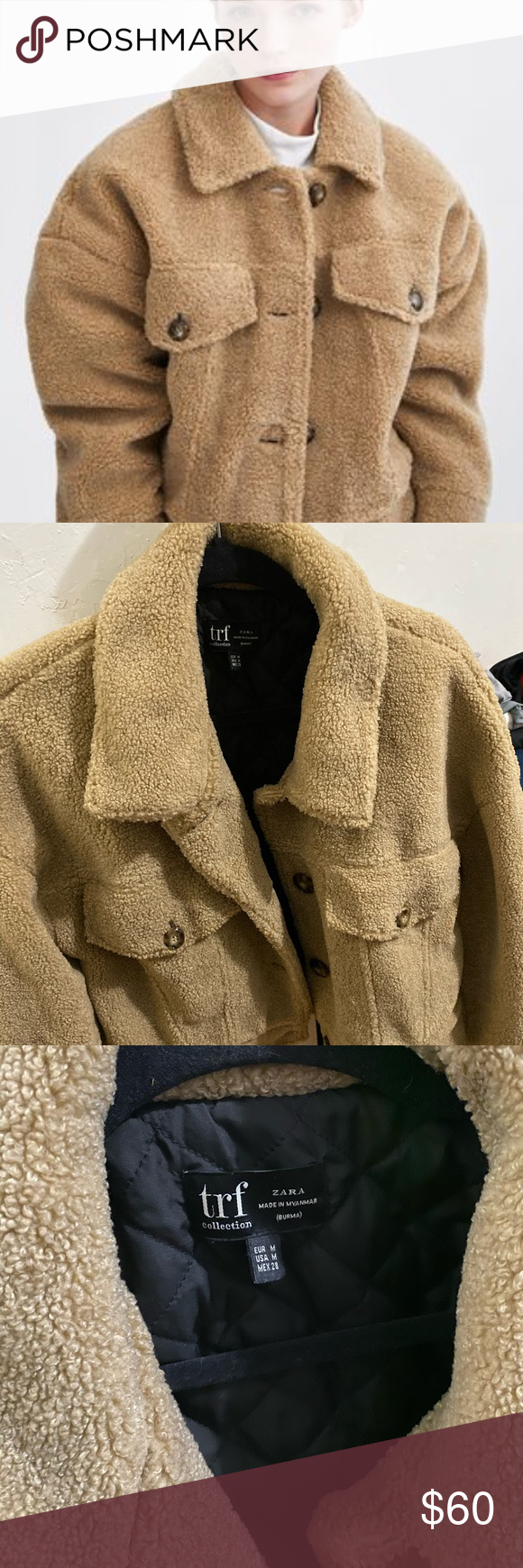 Zara short faux shearling jacket Loosefitting long sleeve